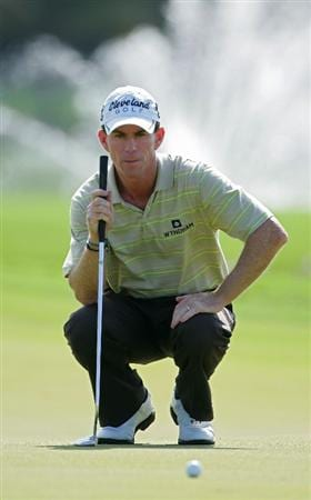 RIO GRANDE, PR - MARCH 14:  Skip Kendall lines up a putt during the continuation of the second round of the Puerto Rico Open presented by Banco Popular at Trump International Golf Club held on March 14, 2010 in Rio Grande, Puerto Rico.  (Photo by Michael Cohen/Getty Images)
