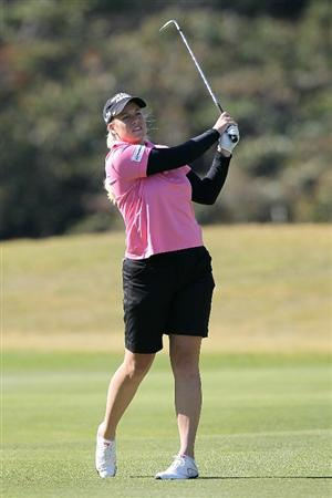 SHIMA, JAPAN - NOVEMBER 05:  Brittany Lincicome of the United States plays an approach shot on the 12th hole during round one of the Mizuno Classic at Kintetsu Kashikojima Country Club on November 5, 2010 in Shima, Mie, Japan.  (Photo by Kiyoshi Ota/Getty Images)