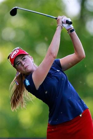 GLADSTONE, NJ - MAY 21:  Paula Creamer hits her tee shot on the 12th hole in round four of the Sybase Match Play Championship at Hamilton Farm Golf Club on May 21, 2011 in Gladstone, New Jersey.  (Photo by Chris Trotman/Getty Images)