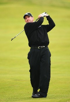CARNOUSTIE, UNITED KINGDOM - JULY 21:  Rod Pampling of Australia hits a shot during the third round of The 136th Open Championship at the Carnoustie Golf Club on July 21, 2007 in Carnoustie, Scotland.  (Photo by Andrew Redington/Getty Images)