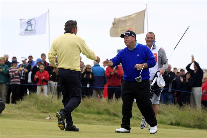 PORTHCAWL, WALES - JUNE 21:  Bertus Smit of South Africa is congratulated by his playing partner Ian Woosnam of Wales during the final round of the Ryder Cup Wales Senior Open played at Royal Porthcawl Golf Club on June 21, 2009 in Porthcawl, United Kingdom.  (Photo by Phil Inglis/Getty Images)