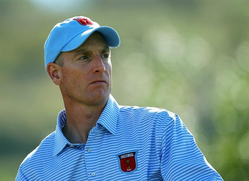 NEWPORT, WALES - SEPTEMBER 28:  Jim Furyk of the USA watches a shot during a practice round prior to the 2010 Ryder Cup at the Celtic Manor Resort on September 28, 2010 in Newport, Wales.  (Photo by Andy Lyons/Getty Images)