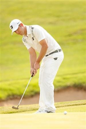SAN ANTONIO, TX - APRIL 16: Kevin Chappell putts during the third round of the Valero Texas Open at the AT&T Oaks Course at TPC San Antonio on April 16, 2011 in San Antonio, Texas. (Photo by Darren Carroll/Getty Images)