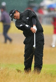 CARNOUSTIE, UNITED KINGDOM - JULY 22:  Michael Campbell of New Zealand hits a shot on the first hole during the final round of The 136th Open Championship at the Carnoustie Golf Club on July 22, 2007 in Carnoustie, Scotland.  (Photo by Andrew Redington/Getty Images)