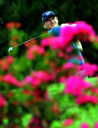 KUALA LUMPUR, MALAYSIA - OCTOBER 30:  Ernie Els of South Africa tees off on the 9th hole during day three of the CIMB Asia Pacific Classic at The MINES Resort & Golf Club on October 30, 2010 in Kuala Lumpur, Malaysia. (Photo by Stanley Chou/Getty Images)