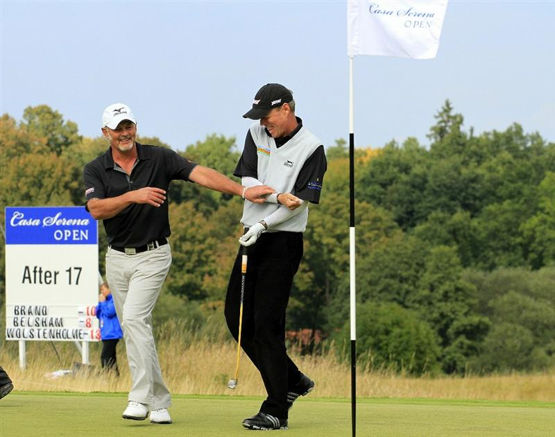 KUTNA HORA, CZECH REPUBLIC - SEPTEMBER 19:  Gordon Brand Jnr of Scotland and Gary Wolstenholme share a joke during the final round of the Casa Serena Open played at Casa Serena Golf on September 19, 2010 in Kutna Hora, Czech Republic.  (Photo by Phil Inglis/Getty Images)