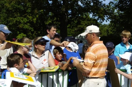 Ted Purdy  signs autographs at the Sharpie tent behind the 18th  green  during the third round of the Cialis Western Open July 2, 2005 in Lemont, Illinois.Photo by Al Messerschmidt/WireImage.com