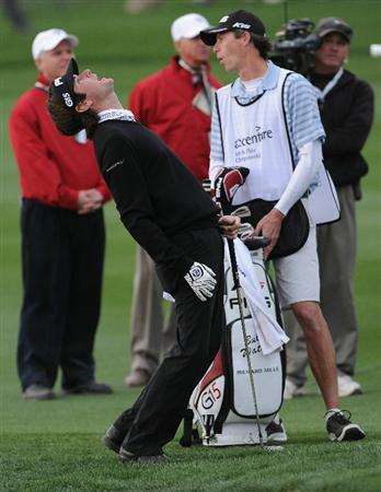 MARANA, AZ - FEBRUARY 26:  Bubba Watson reacts to his approach shot on the 18th hole during the semifinal round of the Accenture Match Play Championship at the Ritz-Carlton Golf Club on February 26, 2011 in Marana, Arizona.  (Photo by Stuart Franklin/Getty Images)