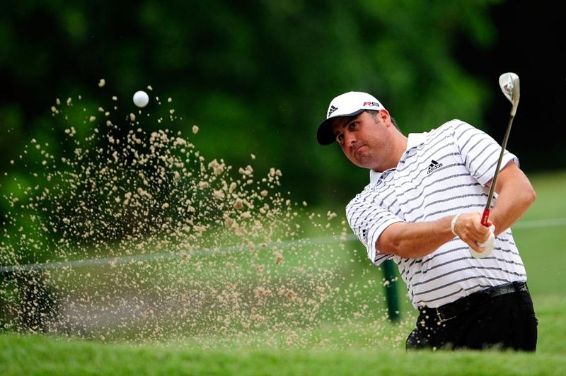 PONTE VEDRA BEACH, FL - MAY 05:  Pat Perez plays a shot from a bunker during a practice round prior to the start of THE PLAYERS Championship held at THE PLAYERS Stadium course at TPC Sawgrass on May 5, 2010 in Ponte Vedra Beach, Florida.  (Photo by Sam Greenwood/Getty Images)