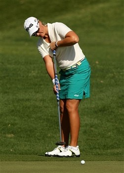 RANCHO MIRAGE, CA - APRIL 06:  Maria Hjorth of Sweden putts onto the second green during the final round of the Kraft Nabisco Championship at Mission Hills Country Club on April 6, 2008 in Rancho Mirage, California.  (Photo by Stephen Dunn/Getty Images)