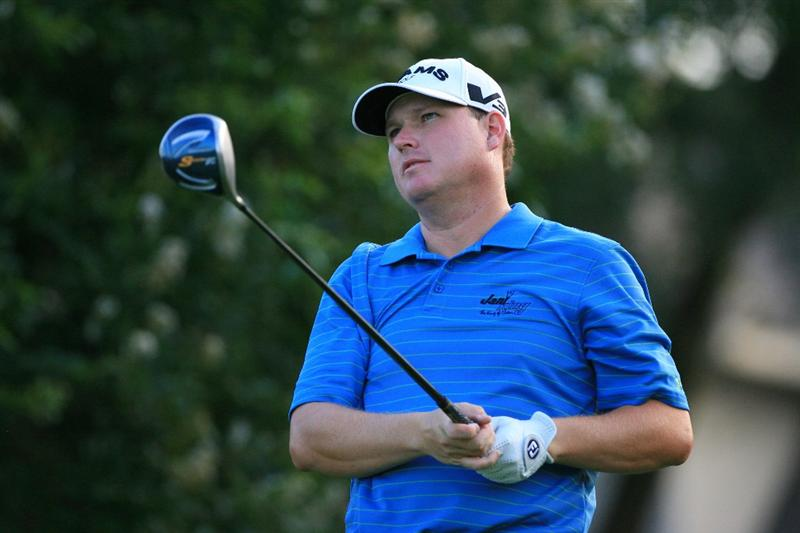 PLANO, TX - MAY 23: Chad Campbell watches his tee shot on the seventh hole during the Open Qualifying Competition at Gleneagles Country Club on May 23, 2011 in Plano, Texas. (Photo by Hunter Martin/Getty Images)