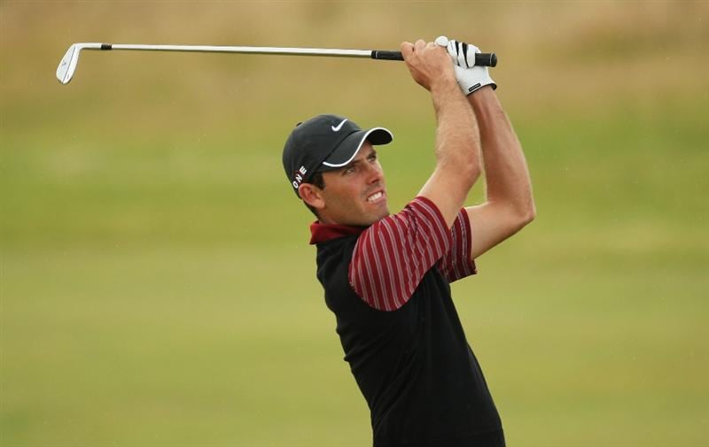 TURNBERRY, SCOTLAND - JULY 16:  Charl Schwartzel of South Africa hits an approach during round one of the 138th Open Championship on the Ailsa Course, Turnberry Golf Club on July 16, 2009 in Turnberry, Scotland.  (Photo by Ross Kinnaird/Getty Images)