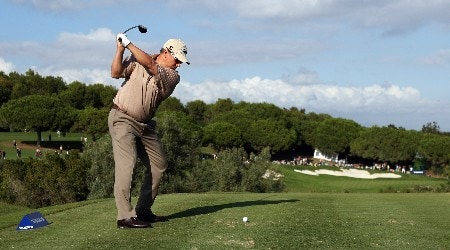 SOTOGRANDE, SPAIN - NOVEMBER 02:  Peter O'Malley of Australia on the on the par three 15th hole during the second round of the Volvo Masters at the Valderrama Golf Club on November 2, 2007 in Sotogrande, Spain.  (Photo by Ross Kinnaird/Getty Images)