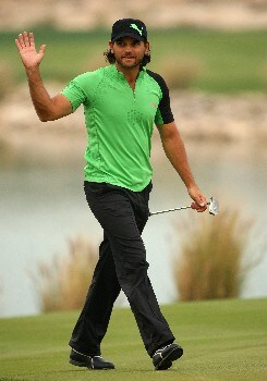 DOHA, QATAR - JANUARY 26:  Johan Edfors of Sweden acknowledges the crowd on the 18th green during the third round of the Commercialbank Qatar Masters at Doha Golf Club on January 26, 2008 in Doha, Qatar.  (Photo by Andrew Redington/Getty Images)