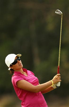 MELBOURNE, AUSTRALIA - FEBRUARY 13:  Nikki Garrett of Australia plays her second shot on the tenth hole during day two of the 2009 Women's Australian Open held at the Metropolitan Golf Club February 13, 2009 in Melbourne, Australia.  (Photo by Quinn Rooney/Getty Images)