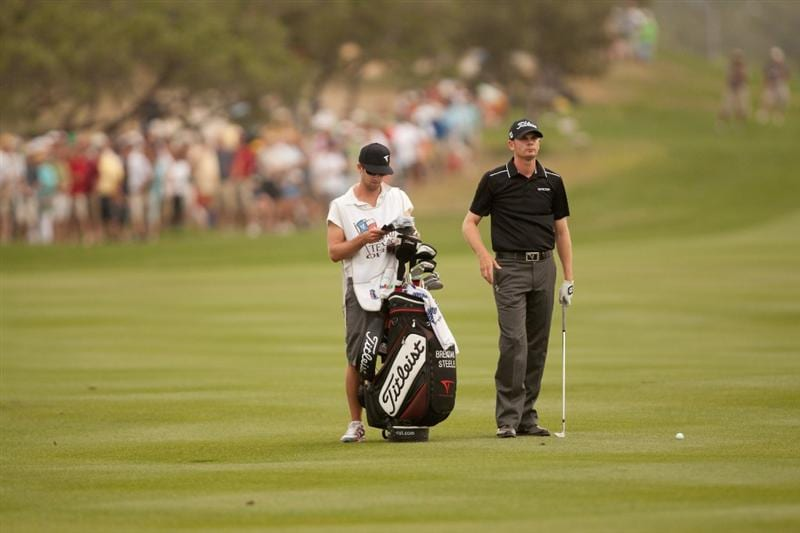 SAN ANTONIO, TX - APRIL 17: Brendan Steele stands in the fairway with his golf bag during the final round of the Valero Texas Open at the AT&T Oaks Course at TPC San Antonio on April 17, 2011 in San Antonio, Texas. (Photo by Darren Carroll/Getty Images)