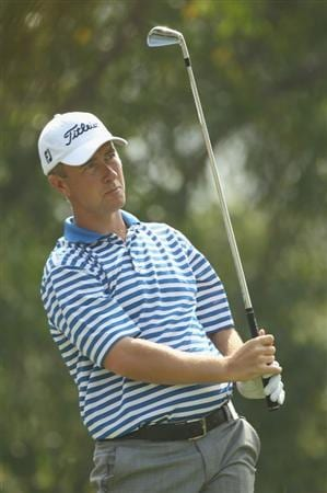 NEW DELHI, INDIA - FEBRUARY 17:  Mark Foster of England in action during the first round of the Avantha Masters held at The DLF Golf and Country Club  on February 17, 2011 in New Delhi, India.  (Photo by Ian Walton/Getty Images)