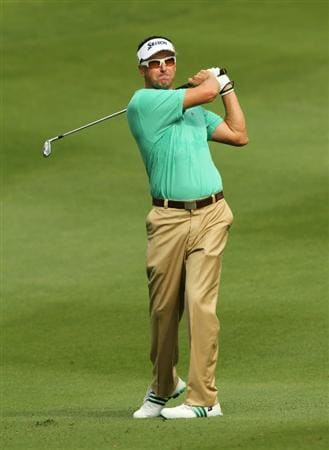 KUALA LUMPUR, MALAYSIA - OCTOBER 28: Robert Allenby of USA watches his 2nd shot on the 1st hole during day one of the CIMB Asia Pacific Classic at The MINES Resort & Golf Club on October 28, 2010 in Kuala Lumpur, Malaysia. (Photo by Stanley Chou/Getty Images)