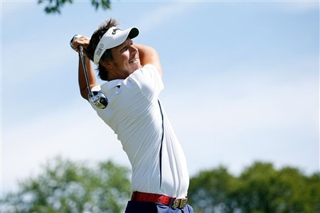 BLOOMFIELD HILLS, MI - AUGUST 06:  Frederik Jacobson of Sweden hits a tee shot during a practice round prior to the 90th PGA Championship at Oakland Hills Country Club on August 6, 2008 in Bloomfield Township, Michigan.  (Photo by Hunter Martin/Getty Images)