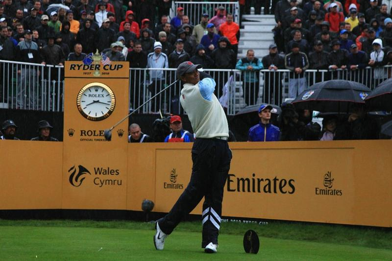 NEWPORT, WALES - OCTOBER 01:  Tiger Woods of the USA tees off on the first hole during the Morning Fourball Matches during the 2010 Ryder Cup at the Celtic Manor Resort on October 1, 2010 in Newport, Wales.  (Photo by David Cannon/Getty Images)