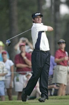 Mark Hensby on the first tee during the third round of the 2005 U.S. Open Golf Championship at Pinehurst Resort course 2 in Pinehurst, North Carolina on June 18, 2005.Photo by Sam Greenwood/WireImage.com