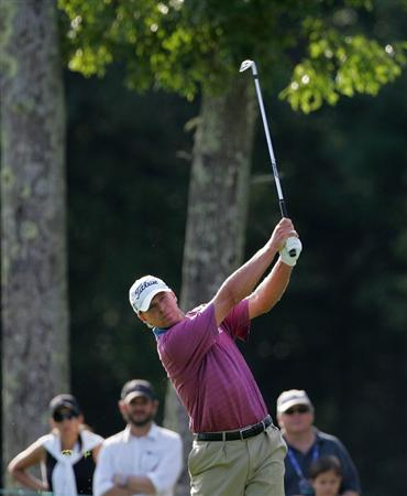 NORTON, MA - SEPTEMBER 07:  Steve Stricker hits his second shot on the 13th hole during the final round of the Deutsche Bank Championship at TPC Boston held on September 7, 2009 in Norton, Massachusetts.  (Photo by Michael Cohen/Getty Images)