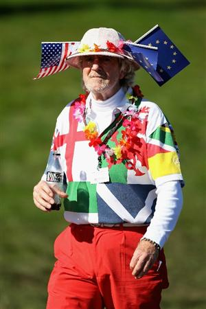 NEWPORT, WALES - OCTOBER 04:  A golf fan watches the play in the singles matches during the 2010 Ryder Cup at the Celtic Manor Resort on October 4, 2010 in Newport, Wales.  (Photo by Andy Lyons/Getty Images)