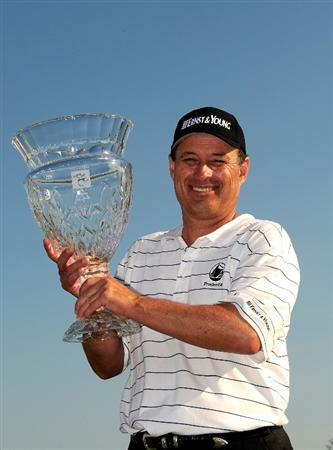 NAPLES, FL - FEBRUARY 22:  Loren Roberts holds the trophy after winning the ACE Group Classic at the TPC Treviso Bay on Februrary 22, 2009 in Naples, Florida.  (Photo by Sam Greenwood/Getty Images)
