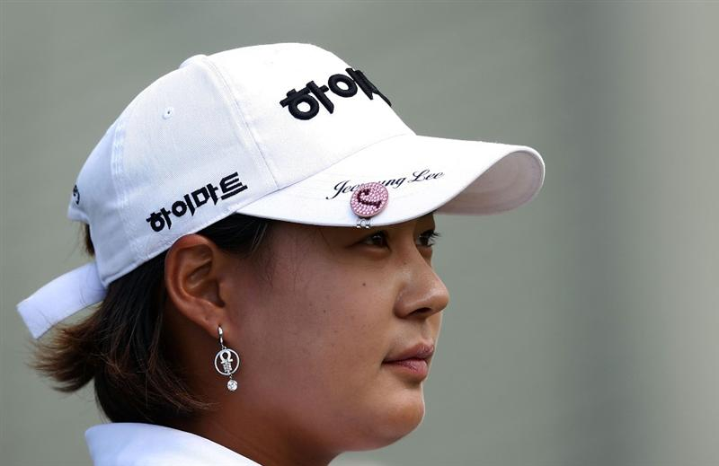 KAPALUA, HI - OCTOBER 18: Jee Young Lee of South Korea looks on  during the third round of the Kapalua LPGA Classic on October 18, 2008 at the Bay Course in Kapalua, Maui, Hawaii. Lee is a co-leader at 5-under par. (Photo by Donald Miralle/Getty Images