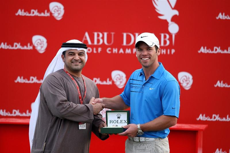 ABU DHABI, UNITED ARAB EMIRATES - JANUARY 18:  Paul Casey of England is presented with his Rolex watch award for scoring the lowest round in the championship after the final round of the Abu Dhabi Golf Championship held at the Abu Dhabi Golf Club on January 18, 2009 in Abu Dhabi, United Arab Emirates  (Photo by David Cannon/Getty Images)