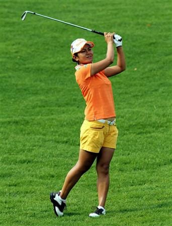 KUALA LUMPUR, MALAYSIA - OCTOBER 21:  Al Miyazato of Japan plays her 2nd shot on the 10th hole during the Sime Darby Pro-Am at the KLGCC Golf Course on October 21, 2010 in Kuala Lumpur, Malaysia.  (Photo by Stanley Chou/Getty Images)