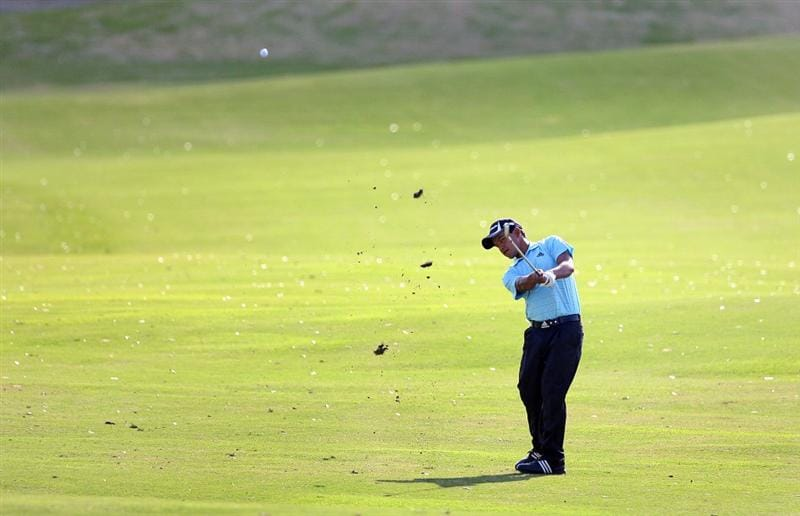 BROUSSARD, LA - MARCH 28: Fabian Gomez of Argentina hits his third shot on the 18th hole during the final round of the Chitimacha Louisiana Open at Le Triomphe Country Club on March 28, 2010 in Broussard, Louisiana. (Photo by Hunter Martin/Getty Images)