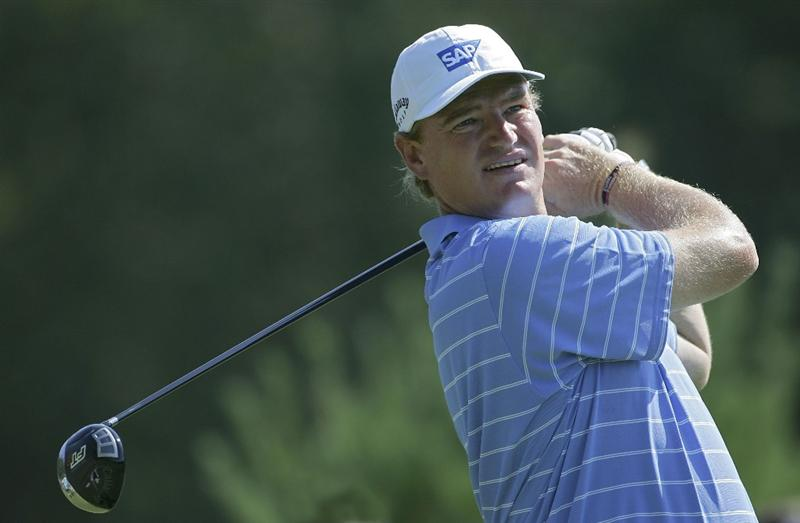 NORTON, MA - SEPTEMBER 04:  Ernie Els of South Africa plays a shot during the first round of the Deutsche Bank Championship at TPC Boston held on September 4, 2009 in Norton, Massachusetts.  (Photo by Michael Cohen/Getty Images)