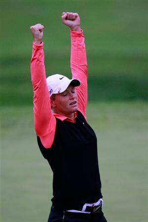 GLADSTONE, NJ - MAY 22:  Suzann Pettersen of Norway reacts after holing a birdie putt on the 18th green to defeat Cristie Kerr in the final of the Sybase Match Play Championship at Hamilton Farm Golf Club on May 22, 2011 in Gladstone, New Jersey.  (Photo by Chris Trotman/Getty Images)