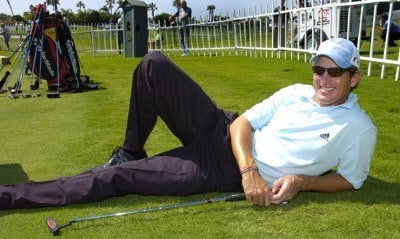 Greg Owen rets near the practice putting green at the 2006 Honda Classic March 7 at the Country Club at Mirasol in Palm Beach Gardens, Florida.Photo by Al Messerschmidt/WireImage.com