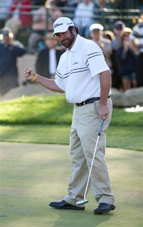 SAN JACINTO, CA - OCTOBER 04: Jerod Turner celebrates on the 18th green after winning the 2009 Soboba Classic at The Country Club at Soboba Springs on October 4, 2009 in San Jacinto, California. (Photo by Robert Laberge/Getty Images)
