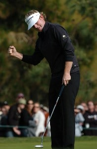 Brandt Snedeker reacts after saving par on the 16th green on the South Course during the third round of the 2007 Buick Invitational at Torrey Pines Golf Course in La Jolla, California on January 27, 2007. PGA TOUR - 2007 Buick Invitational - Third RoundPhoto by Steve Grayson/WireImage.com