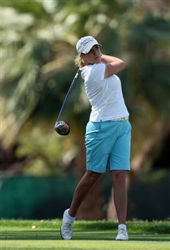 RANCHO MIRAGE, CA - APRIL 06:  Cristie Kerr of the USA hits her tee shot at the 6th hole during the final round of the Kraft Nabisco Championship at the Mission Hills Country Club, on April 6, 2008 in Rancho Mirage, California.  (Photo by David Cannon/Getty Images)