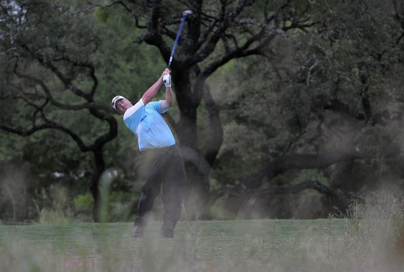 SAN ANTONIO, TX - MAY 15:  Brett Wetterich tees off the 4th hole during the second round of the Valero Texas Open at the TPC San Antonio on May 15, 2010 in San Antonio, Texas. (Photo by Marc Feldman/Getty Images)