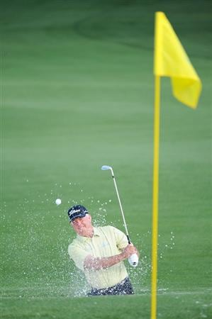 AUGUSTA, GA - APRIL 10:  Mark O'Meara plays a bunker shot on the second hole during the second round of the 2009 Masters Tournament at Augusta National Golf Club on April 10, 2009 in Augusta, Georgia.  (Photo by Harry How/Getty Images)
