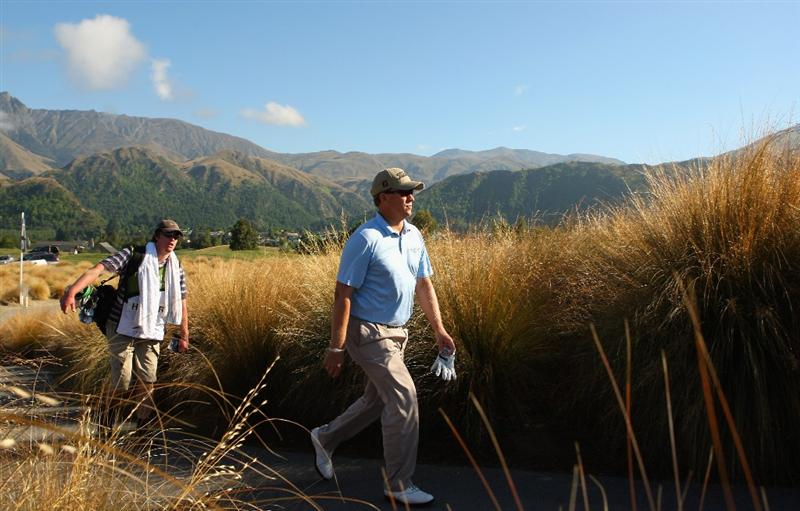 QUEENSTOWN, NEW ZEALAND - JANUARY 29:  Joe Affrunti of the USA walks up to the 14th tee during day two of the New Zealand Open at The Hills Golf Club on January 29, 2010 in Queenstown, New Zealand.  (Photo by Phil Walter/Getty Images)
