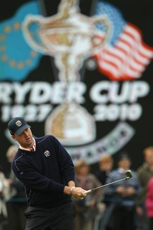 NEWPORT, WALES - SEPTEMBER 30:  Peter Hanson of Europe watches a shot during a practice round prior to the 2010 Ryder Cup at the Celtic Manor Resort on September 30, 2010 in Newport, Wales.  (Photo by Ross Kinnaird/Getty Images)