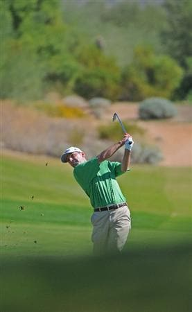 SCOTTSDALE, AZ - OCTOBER 26: Kevin Sutherland hits his approach shot into the 3rd hole during the fourth and final round of  the Fry's.Com Open held at Grayhawk Golf Club on October 26, 2008 in Scottsdale, Arizona. (Photo by Marc Feldman/Getty Images)