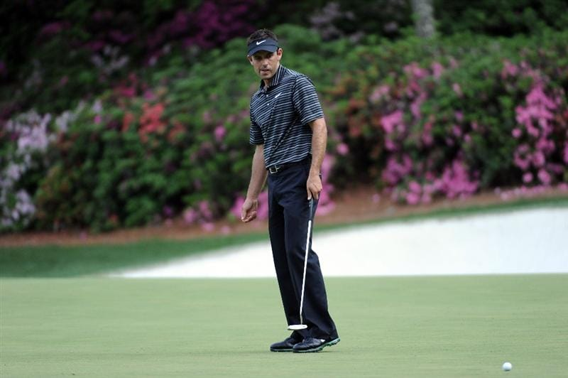 AUGUSTA, GA - APRIL 10:  Charl Schwartzel of South Africa watches his putt on the 13th hole during the final round of the 2011 Masters Tournament at Augusta National Golf Club on April 10, 2011 in Augusta, Georgia.  (Photo by Harry How/Getty Images)