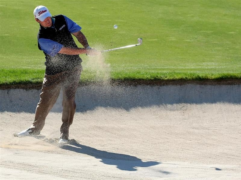 MIYAZAKI, JAPAN - NOVEMBER 20:  Johnson Wagner of the USA plays out of a bunker on the 15th hole during first round of Dunlop Phoenix Tournament 2008 at Phoenix Country Club on November 20, 2008 at Miyazaki, Japan.   (Photo by Koichi Kamoshida/Getty Images)
