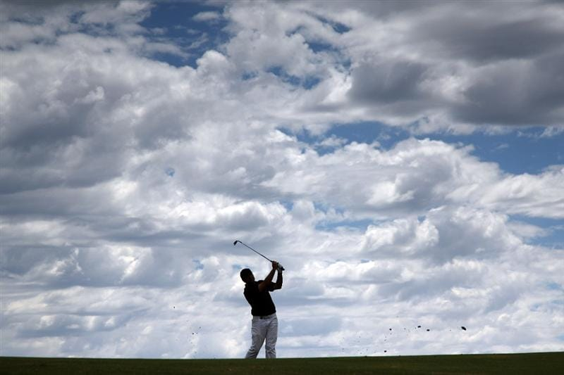 PERTH, AUSTRALIA - FEBRUARY 21:  Terry Pilkadaris of Australia hits his second shot at the 17th hole during the third round of the 2009 Johnnie Walker Classic tournament at the Vines Resort and Country Club, on February 21, 2009, in Perth, Australia  (Photo by David Cannon/Getty Images)