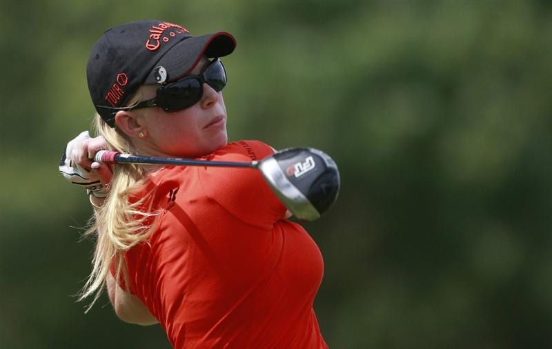 ROGERS, AR - SEPTEMBER 11:  Morgan Pressel watches her drive from the 16th tee during first round play in the P&G Beauty NW Arkansas Championship at the Pinnacle Country Club on September 11, 2009 in Rogers, Arkansas.  (Photo by Dave Martin/Getty Images)