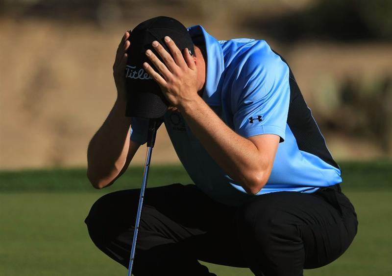 MARANA, AZ - FEBRUARY 28:  Ross Fisher of England waits on the 16th green during the semifinals of the Accenture Match Play Championship at the Ritz-Carlton Golf Club at Dove Mountain on February 28, 2009 in Marana, Arizona.  (Photo by Scott Halleran/Getty Images)