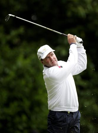 VIRGINIA WATER, ENGLAND - MAY 27:  Thomas Levet of France tees off on the 2nd hole during the second round of the BMW PGA Championship at the Wentworth Club on May 27, 2011 in Virginia Water, England.  (Photo by Ross Kinnaird/Getty Images)