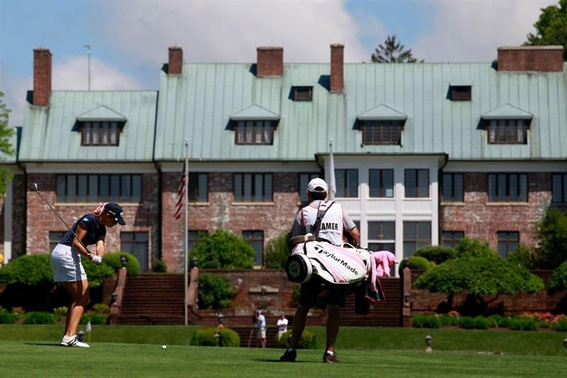 GLADSTONE, NJ - MAY 21:  Paula Creamer hits her second shot to the ninth hole in round three of the Sybase Match Play Championship at Hamilton Farm Golf Club on May 21, 2011 in Gladstone, New Jersey.  (Photo by Chris Trotman/Getty Images)